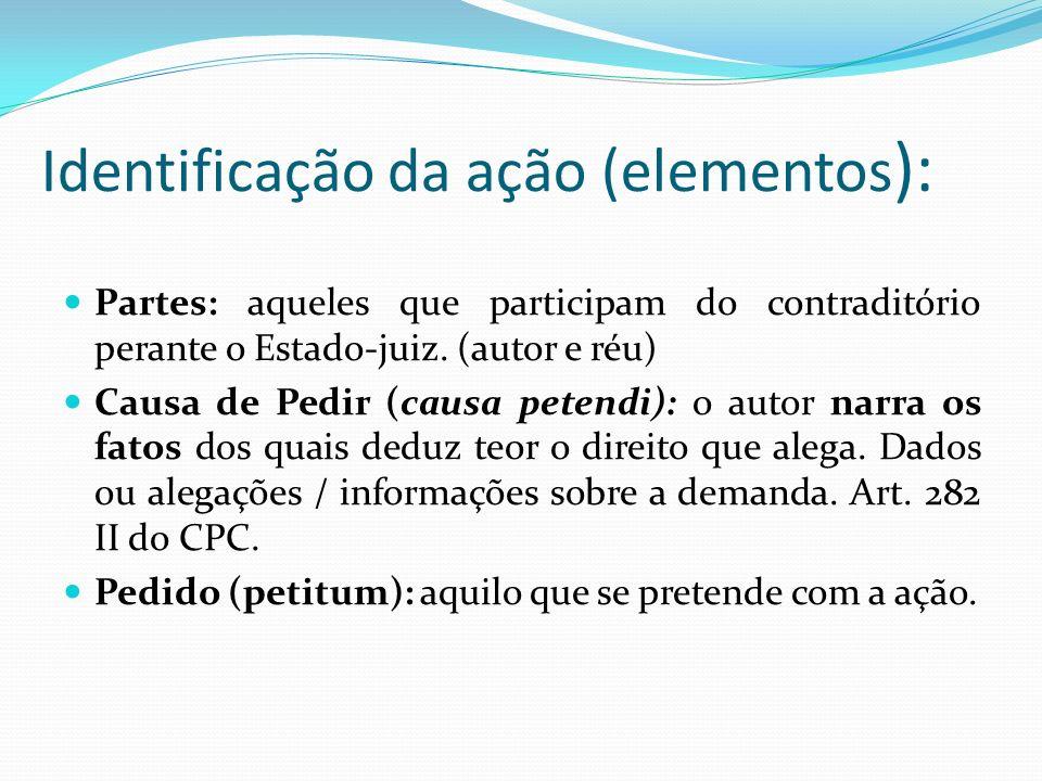 Identificação da ação (elementos ): Partes: aqueles que participam do contraditório perante o Estado-juiz. (autor e réu) Causa de Pedir (causa petendi