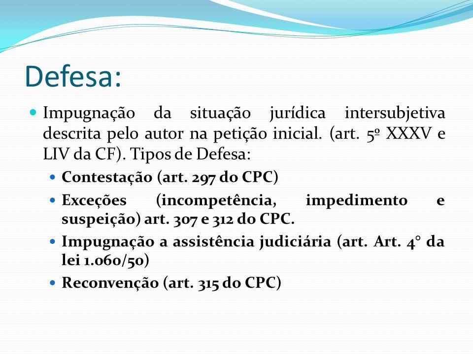Defesa: Impugnação da situação jurídica intersubjetiva descrita pelo autor na petição inicial. (art. 5º XXXV e LIV da CF). Tipos de Defesa: Contestaçã