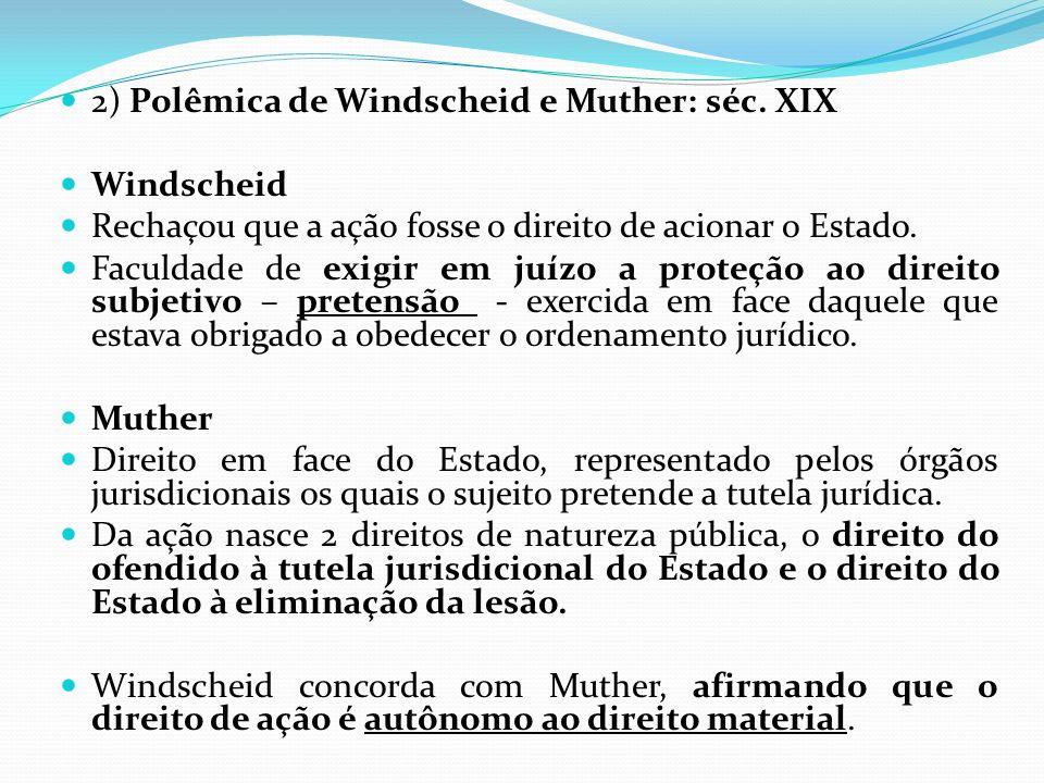 2) Polêmica de Windscheid e Muther: séc. XIX Windscheid Rechaçou que a ação fosse o direito de acionar o Estado. Faculdade de exigir em juízo a proteç