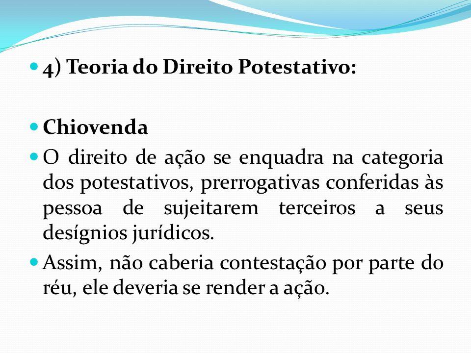 4) Teoria do Direito Potestativo: Chiovenda O direito de ação se enquadra na categoria dos potestativos, prerrogativas conferidas às pessoa de sujeita