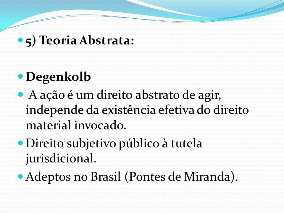 5) Teoria Abstrata: Degenkolb A ação é um direito abstrato de agir, independe da existência efetiva do direito material invocado. Direito subjetivo pú