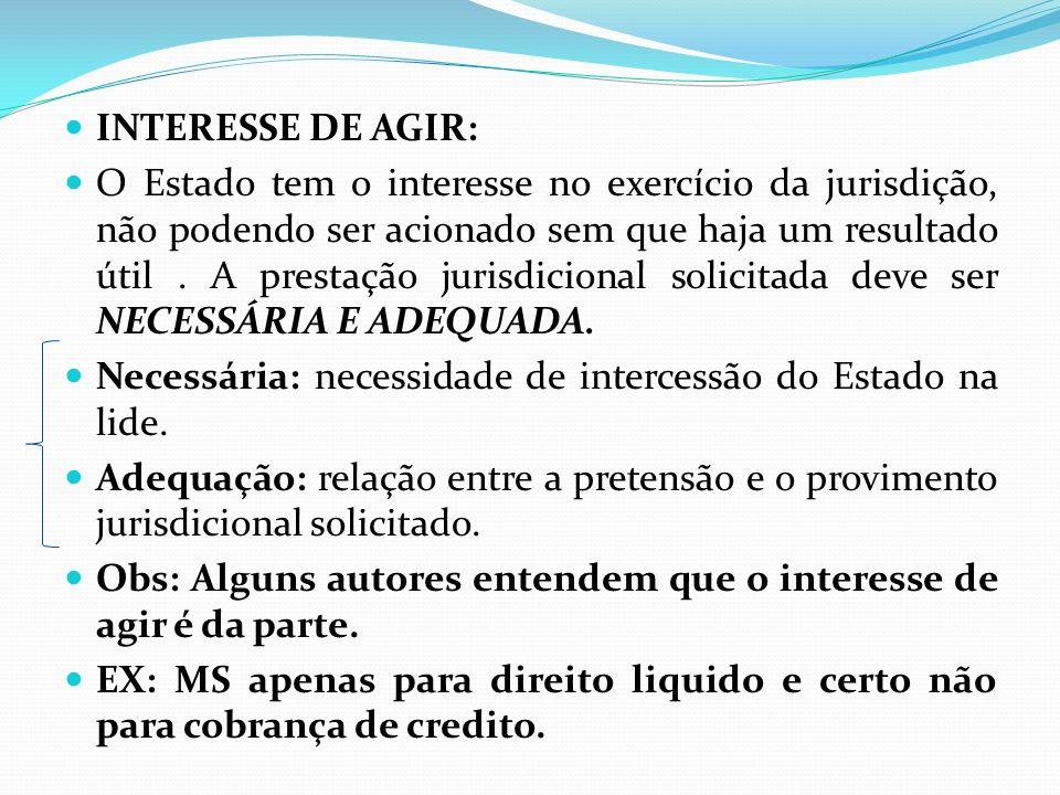 INTERESSE DE AGIR: O Estado tem o interesse no exercício da jurisdição, não podendo ser acionado sem que haja um resultado útil. A prestação jurisdici