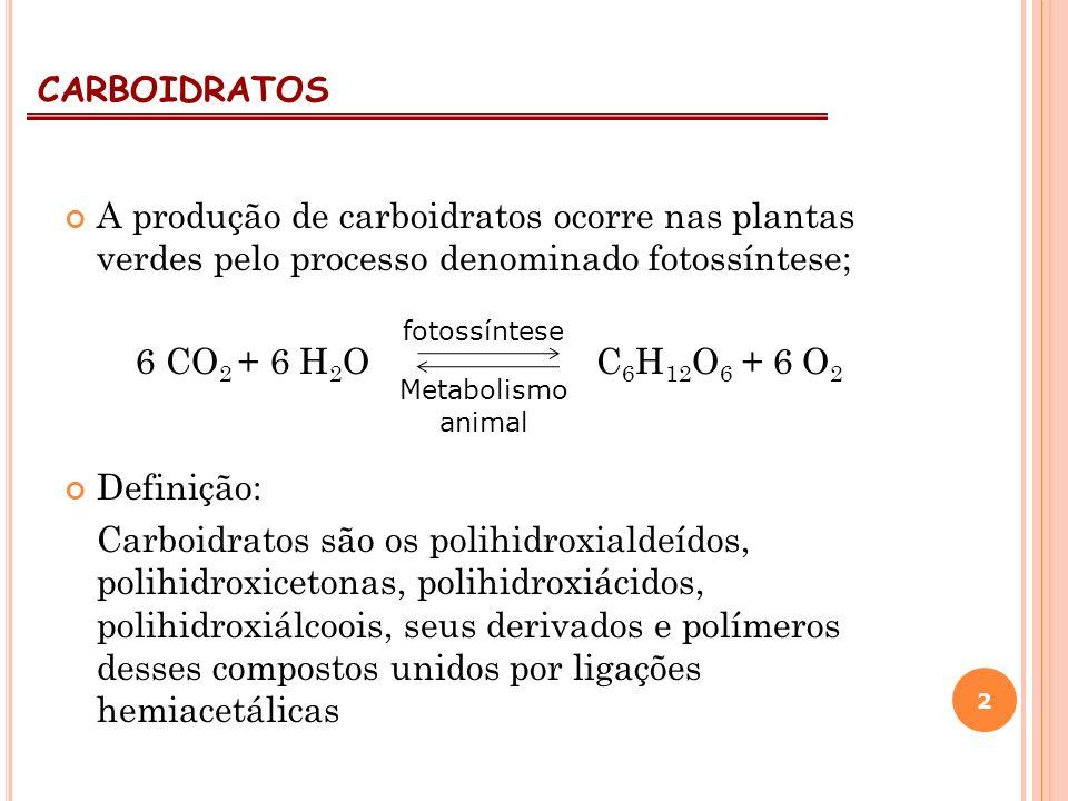 A produção de carboidratos ocorre nas plantas verdes pelo processo denominado fotossíntese; 6 CO 2 + 6 H 2 O C 6 H 12 O 6 + 6 O 2 Definição: Carboidra