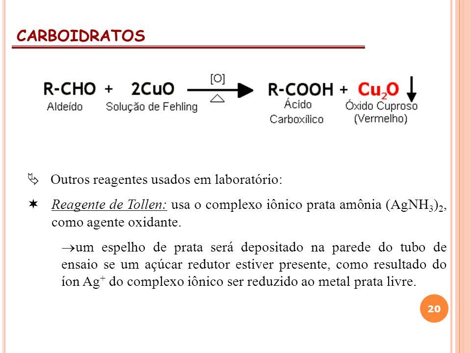 CARBOIDRATOS 20 Outros reagentes usados em laboratório: Reagente de Tollen: usa o complexo iônico prata amônia (AgNH 3 ) 2, como agente oxidante. um e