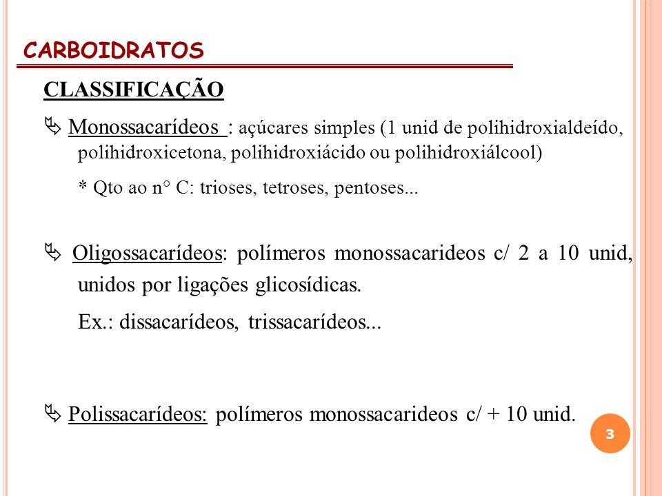 CARBOIDRATOS 3 CLASSIFICAÇÃO Monossacarídeos : açúcares simples (1 unid de polihidroxialdeído, polihidroxicetona, polihidroxiácido ou polihidroxiálcoo
