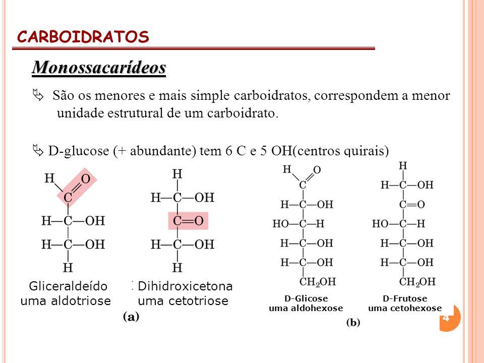 CARBOIDRATOS 4 Monossacarídeos São os menores e mais simple carboidratos, correspondem a menor unidade estrutural de um carboidrato. D-glucose (+ abun