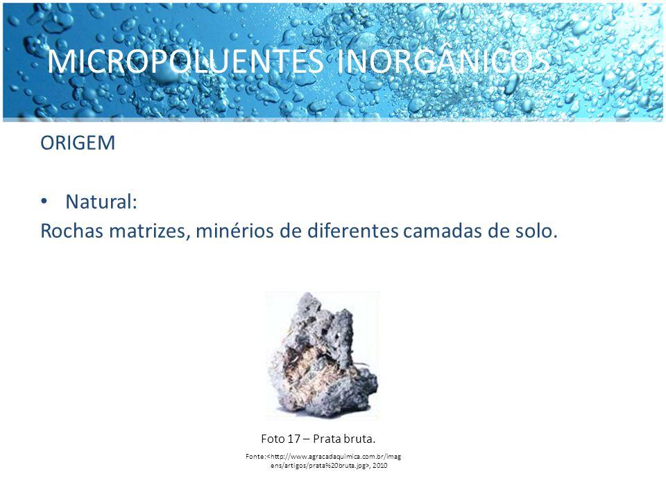 MICROPOLUENTES INORGÂNICOS ORIGEM Natural: Rochas matrizes, minérios de diferentes camadas de solo. Fonte:, 2010 Foto 17 – Prata bruta.