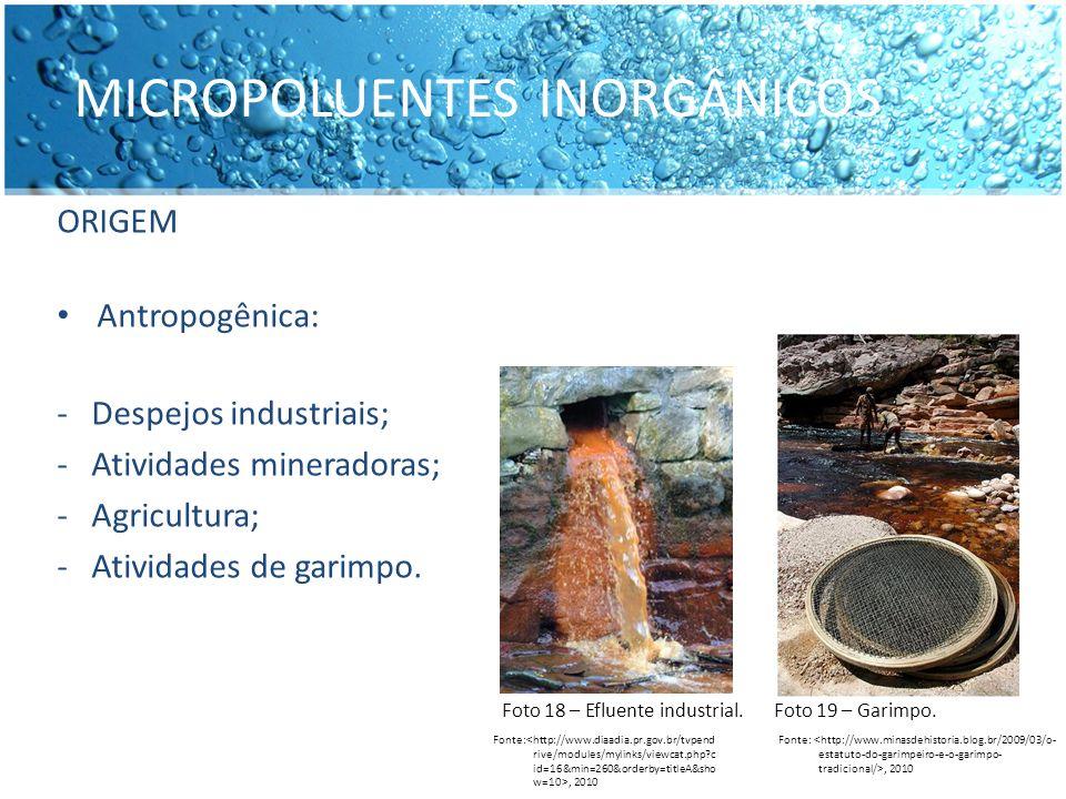 ORIGEM Antropogênica: - Despejos industriais; - Atividades mineradoras; - Agricultura; - Atividades de garimpo. MICROPOLUENTES INORGÂNICOS Fonte:, 201