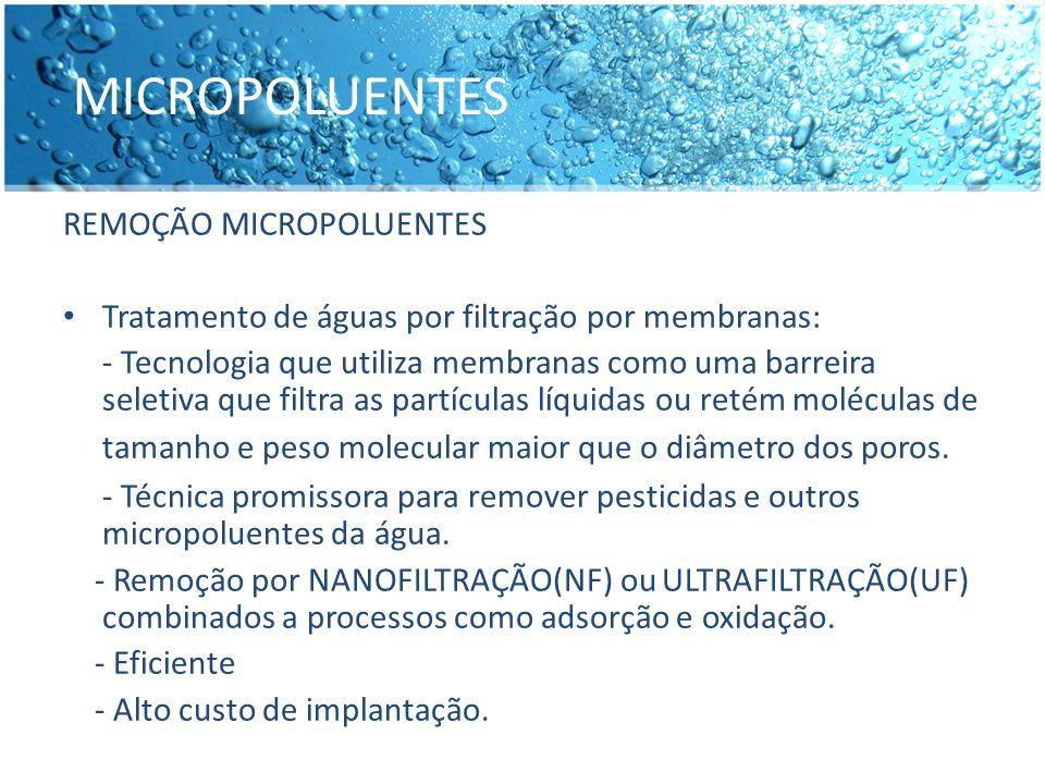 MICROPOLUENTES REMOÇÃO MICROPOLUENTES Tratamento de águas por filtração por membranas: - Tecnologia que utiliza membranas como uma barreira seletiva q