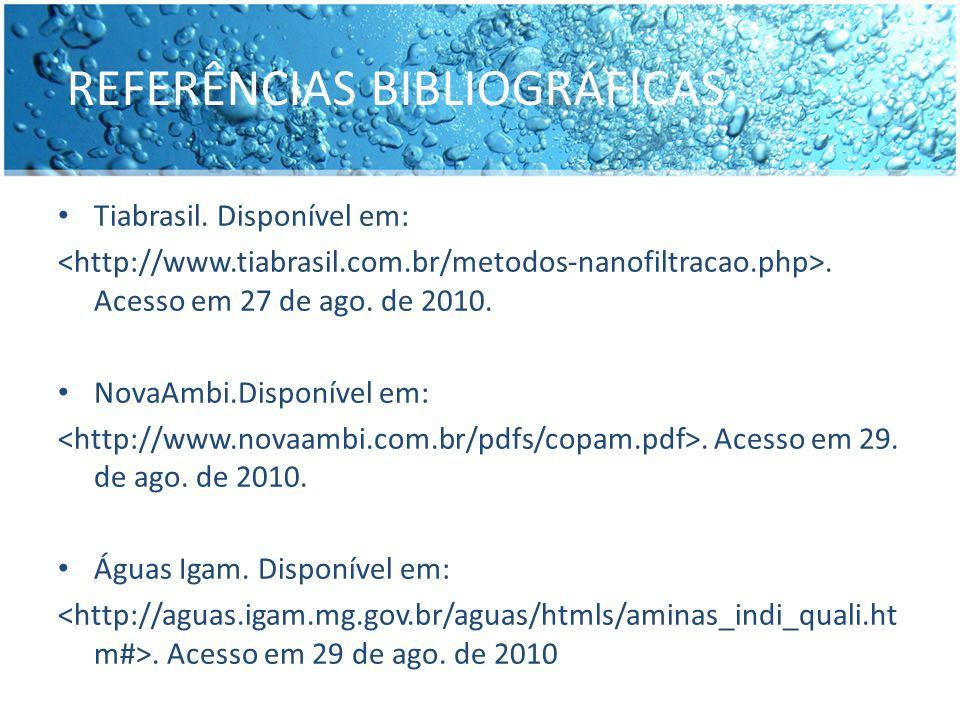 REFERÊNCIAS BIBLIOGRÁFICAS Tiabrasil. Disponível em:. Acesso em 27 de ago. de 2010. NovaAmbi.Disponível em:. Acesso em 29. de ago. de 2010. Águas Igam