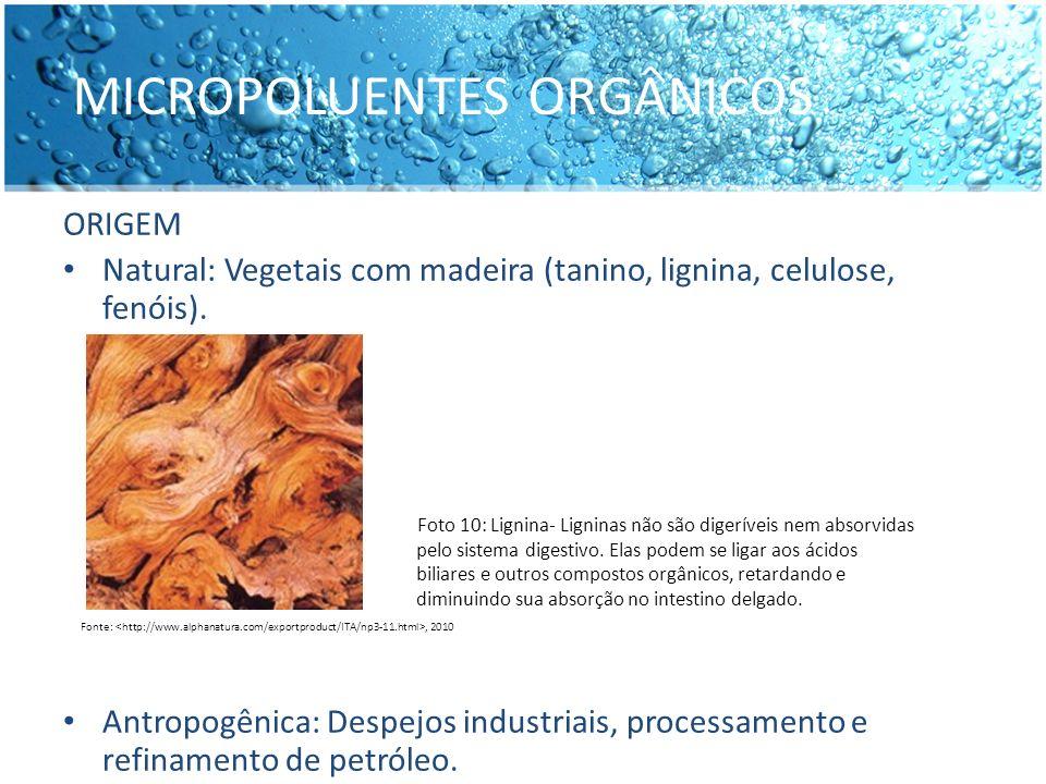 MICROPOLUENTES ORGÂNICOS ORIGEM Natural: Vegetais com madeira (tanino, lignina, celulose, fenóis). Antropogênica: Despejos industriais, processamento