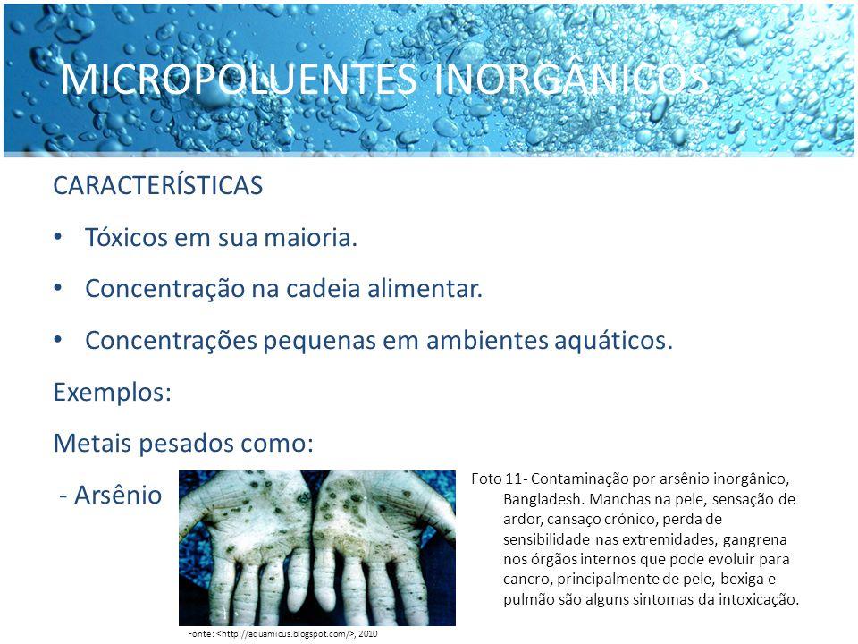 MICROPOLUENTES INORGÂNICOS CARACTERÍSTICAS Tóxicos em sua maioria. Concentração na cadeia alimentar. Concentrações pequenas em ambientes aquáticos. Ex