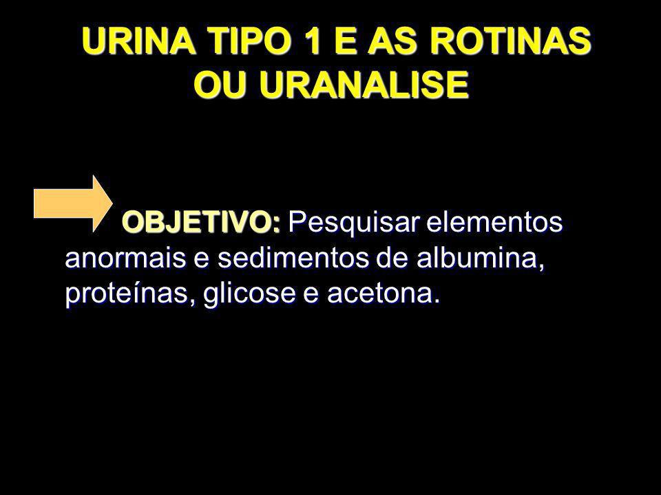 URINA TIPO 1 E AS ROTINAS OU URANALISE URINA TIPO 1 E AS ROTINAS OU URANALISE OBJETIVO: Pesquisar elementos anormais e sedimentos de albumina, proteín