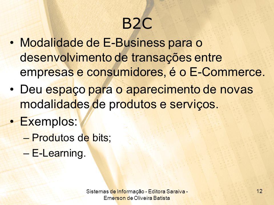 Sistemas de Informação - Editora Saraiva - Emerson de Oliveira Batista 12 B2C Modalidade de E-Business para o desenvolvimento de transações entre empr