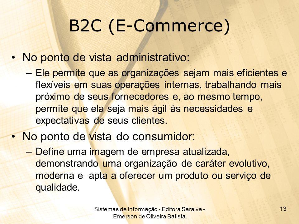 Sistemas de Informação - Editora Saraiva - Emerson de Oliveira Batista 13 B2C (E-Commerce) No ponto de vista administrativo: –Ele permite que as organ