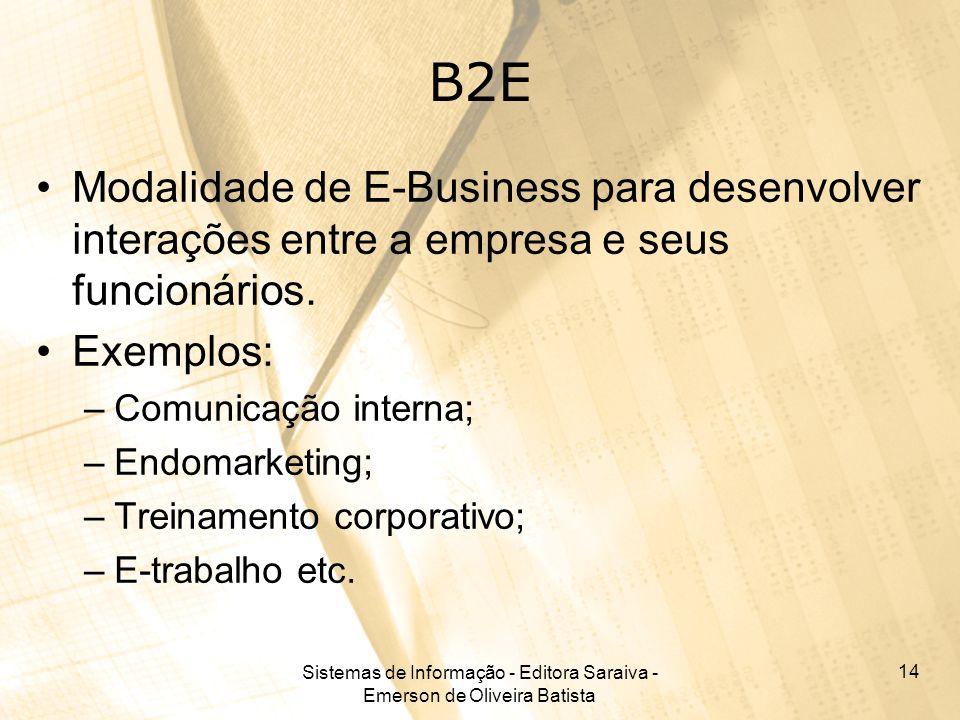 Sistemas de Informação - Editora Saraiva - Emerson de Oliveira Batista 14 B2E Modalidade de E-Business para desenvolver interações entre a empresa e s