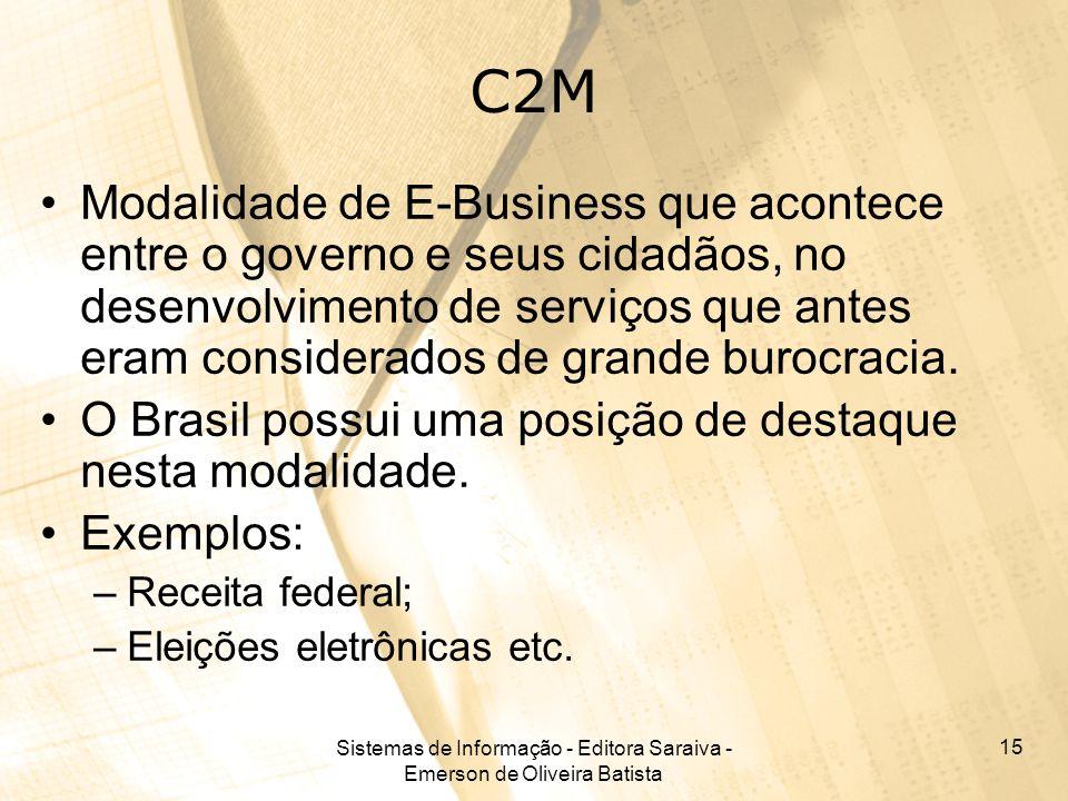 Sistemas de Informação - Editora Saraiva - Emerson de Oliveira Batista 15 C2M Modalidade de E-Business que acontece entre o governo e seus cidadãos, n