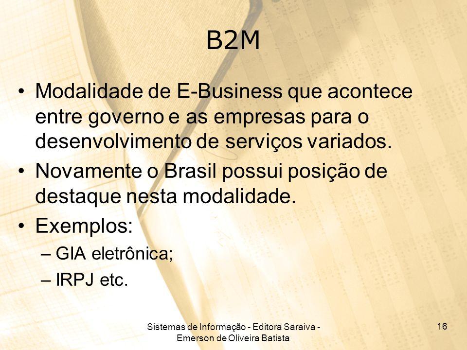 Sistemas de Informação - Editora Saraiva - Emerson de Oliveira Batista 16 B2M Modalidade de E-Business que acontece entre governo e as empresas para o