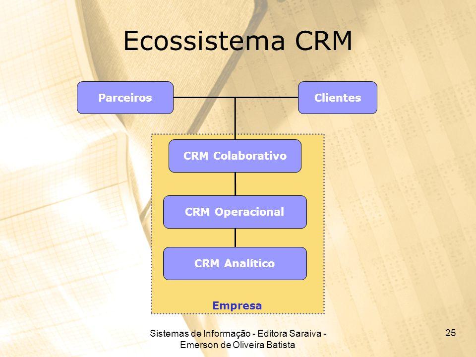 Sistemas de Informação - Editora Saraiva - Emerson de Oliveira Batista 25 Ecossistema CRM Empresa Clientes CRM Colaborativo Parceiros CRM Analítico CR