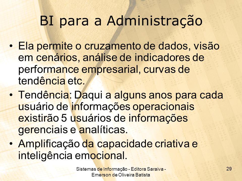 Sistemas de Informação - Editora Saraiva - Emerson de Oliveira Batista 29 BI para a Administração Ela permite o cruzamento de dados, visão em cenários