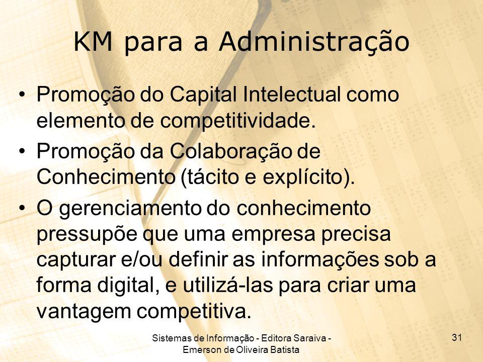 Sistemas de Informação - Editora Saraiva - Emerson de Oliveira Batista 31 KM para a Administração Promoção do Capital Intelectual como elemento de com