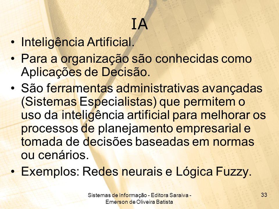 Sistemas de Informação - Editora Saraiva - Emerson de Oliveira Batista 33 IA Inteligência Artificial. Para a organização são conhecidas como Aplicaçõe