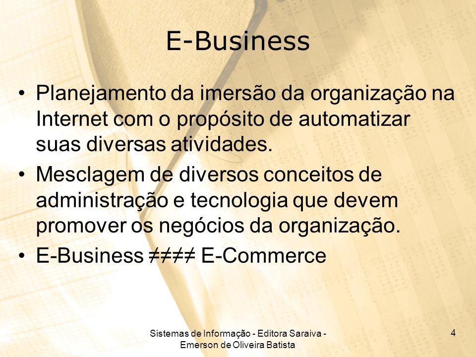 Sistemas de Informação - Editora Saraiva - Emerson de Oliveira Batista 4 E-Business Planejamento da imersão da organização na Internet com o propósito