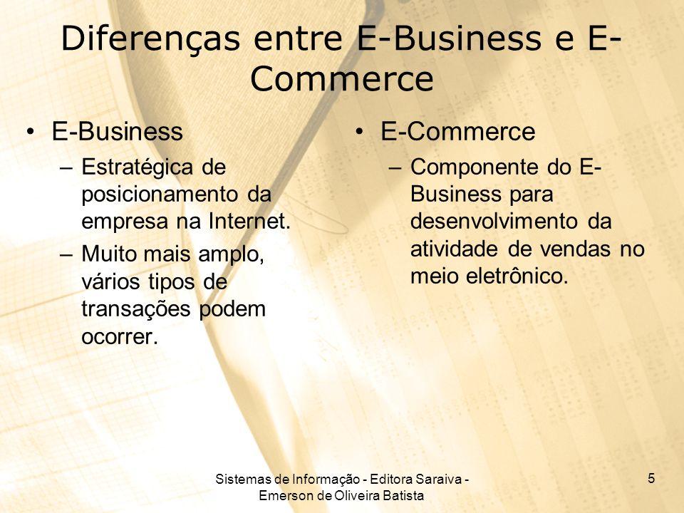 Sistemas de Informação - Editora Saraiva - Emerson de Oliveira Batista 5 Diferenças entre E-Business e E- Commerce E-Business –Estratégica de posicion