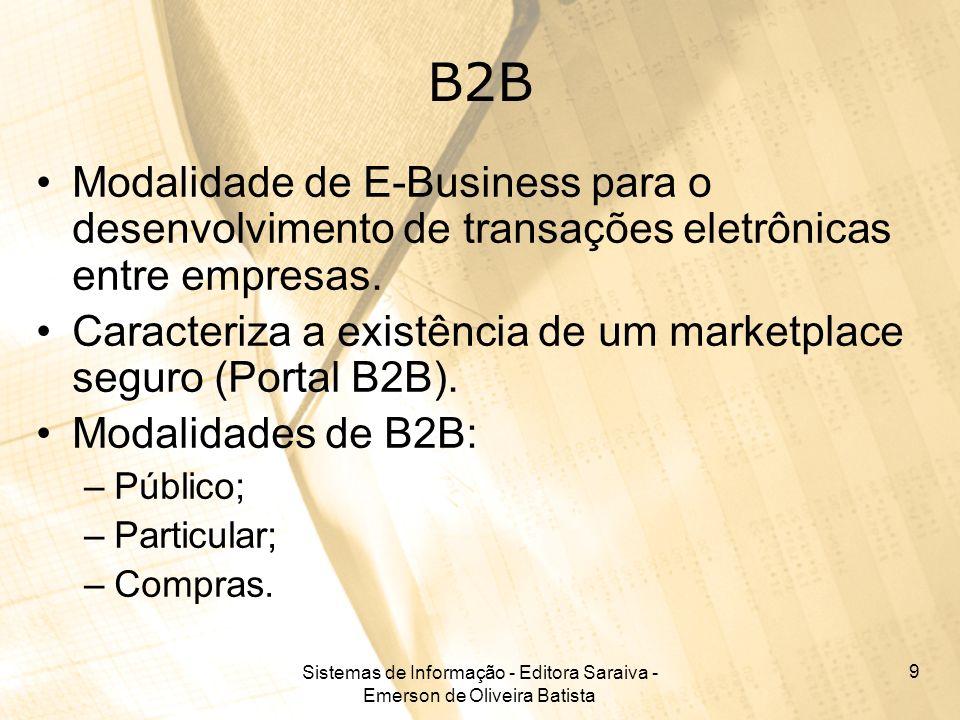Sistemas de Informação - Editora Saraiva - Emerson de Oliveira Batista 9 B2B Modalidade de E-Business para o desenvolvimento de transações eletrônicas