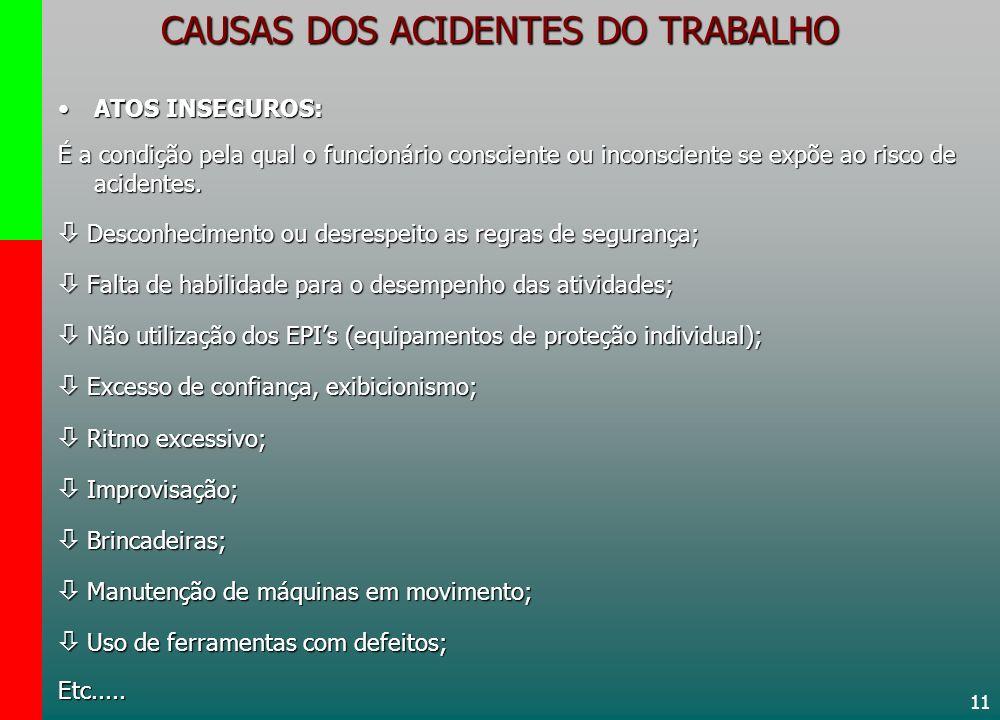 11 CAUSAS DOS ACIDENTES DO TRABALHO ATOS INSEGUROS:ATOS INSEGUROS: É a condição pela qual o funcionário consciente ou inconsciente se expõe ao risco d