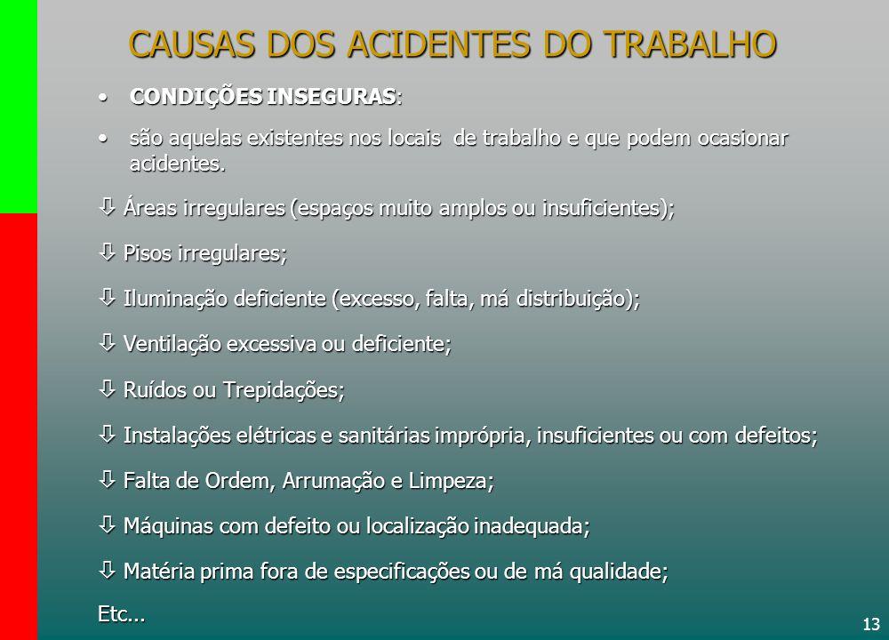 13 CONDIÇÕES INSEGURAS:CONDIÇÕES INSEGURAS: são aquelas existentes nos locais de trabalho e que podem ocasionar acidentes.são aquelas existentes nos l