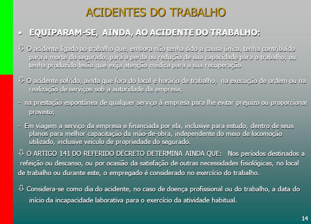 14 ACIDENTES DO TRABALHO EQUIPARAM-SE, AINDA, AO ACIDENTE DO TRABALHO:EQUIPARAM-SE, AINDA, AO ACIDENTE DO TRABALHO: O acidente ligado ao trabalho que,