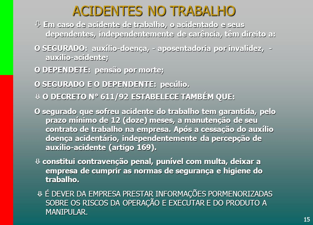15 ACIDENTES NO TRABALHO Em caso de acidente de trabalho, o acidentado e seus dependentes, independentemente de carência, têm direito a: Em caso de ac
