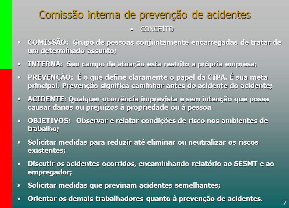 7 Comissão interna de prevenção de acidentes CONCEITOCONCEITO COMISSÃO: Grupo de pessoas conjuntamente encarregadas de tratar de um determinado assunt