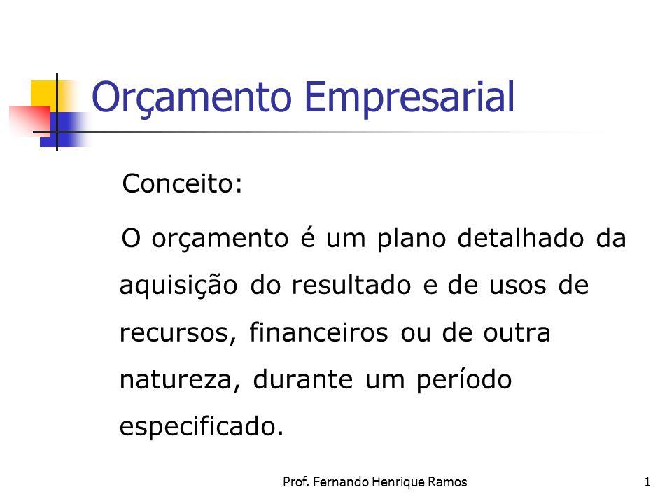 Prof. Fernando Henrique Ramos1 Orçamento Empresarial Conceito: O orçamento é um plano detalhado da aquisição do resultado e de usos de recursos, finan