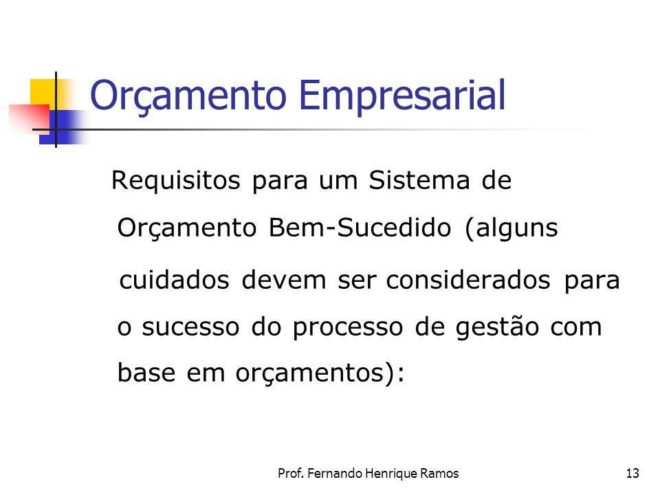 Prof. Fernando Henrique Ramos13 Orçamento Empresarial Requisitos para um Sistema de Orçamento Bem-Sucedido (alguns cuidados devem ser considerados par