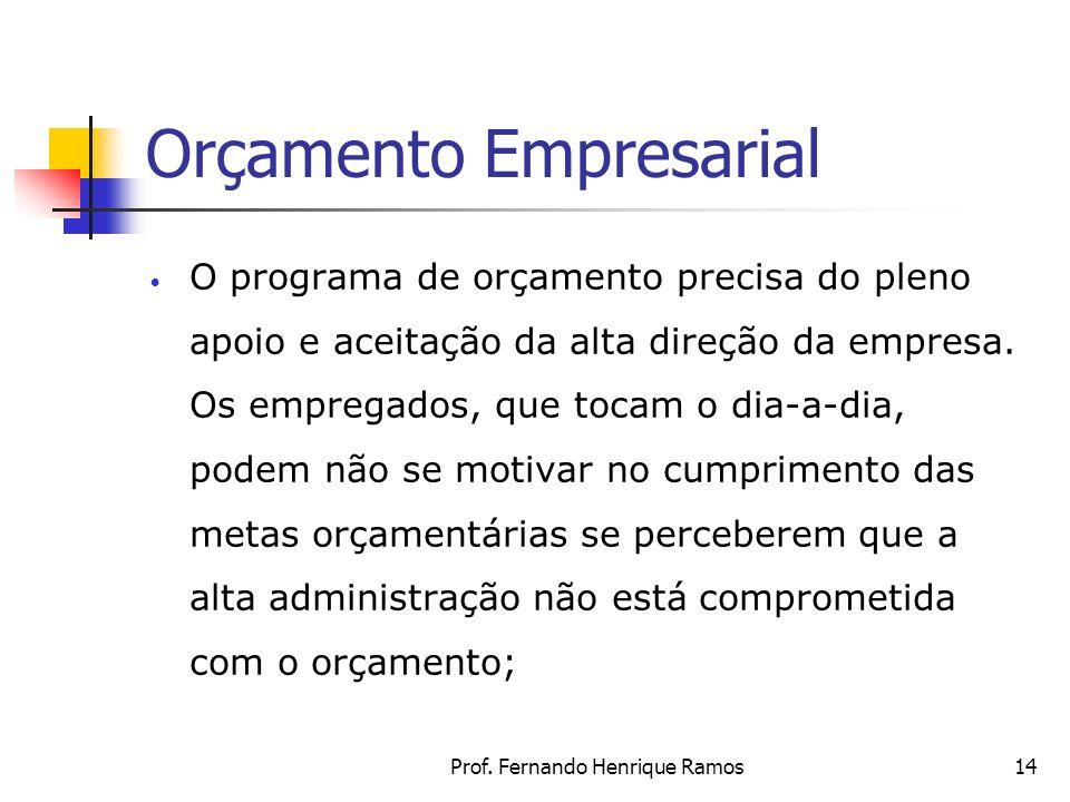 Prof. Fernando Henrique Ramos14 Orçamento Empresarial O programa de orçamento precisa do pleno apoio e aceitação da alta direção da empresa. Os empreg