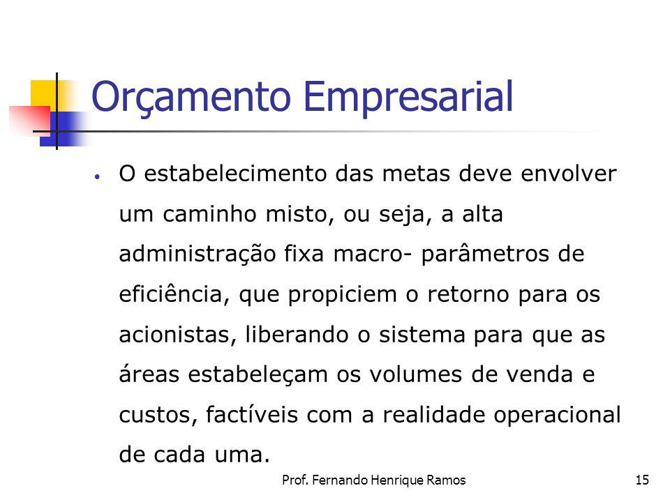 Prof. Fernando Henrique Ramos15 Orçamento Empresarial O estabelecimento das metas deve envolver um caminho misto, ou seja, a alta administração fixa m