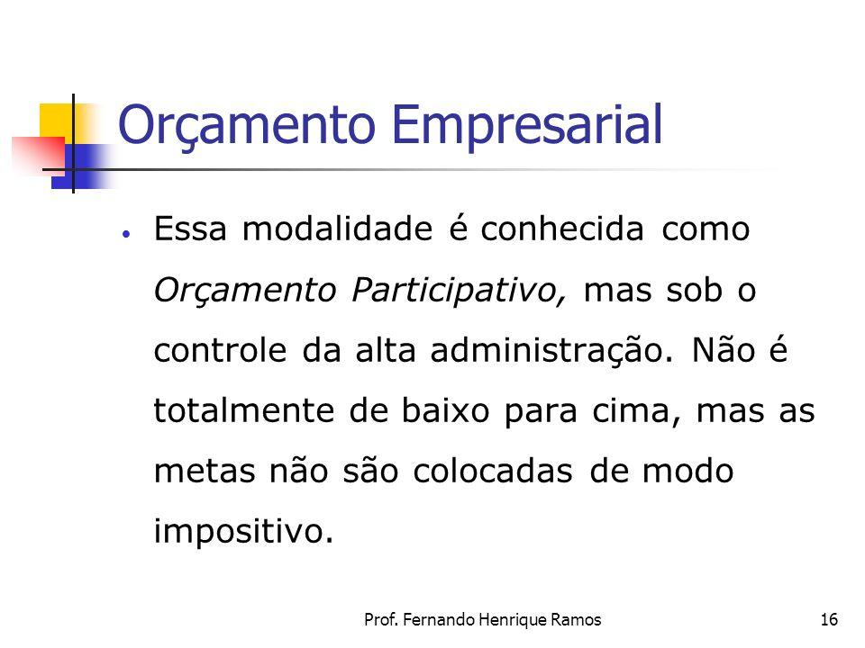 Prof. Fernando Henrique Ramos16 Orçamento Empresarial Essa modalidade é conhecida como Orçamento Participativo, mas sob o controle da alta administraç