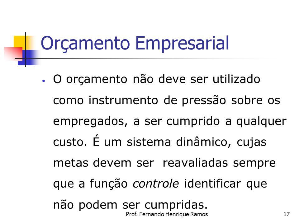 Prof. Fernando Henrique Ramos17 Orçamento Empresarial O orçamento não deve ser utilizado como instrumento de pressão sobre os empregados, a ser cumpri