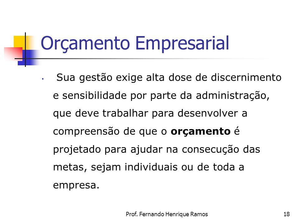Prof. Fernando Henrique Ramos18 Orçamento Empresarial Sua gestão exige alta dose de discernimento e sensibilidade por parte da administração, que deve
