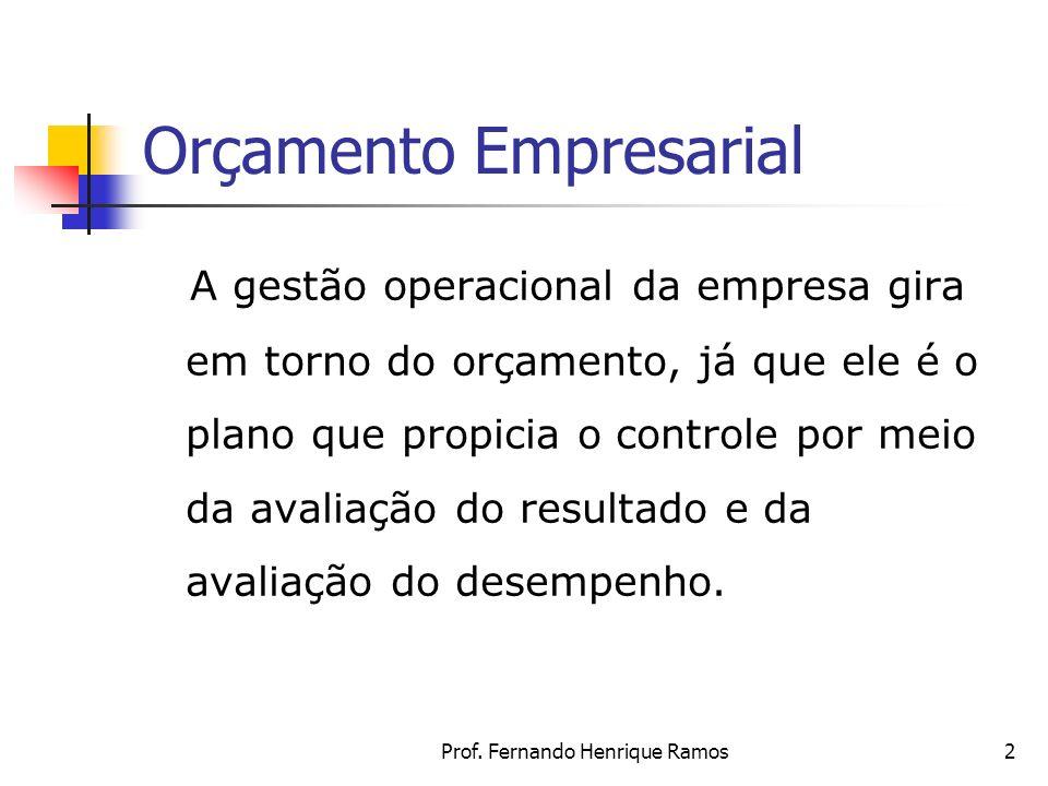 Prof. Fernando Henrique Ramos2 Orçamento Empresarial A gestão operacional da empresa gira em torno do orçamento, já que ele é o plano que propicia o c