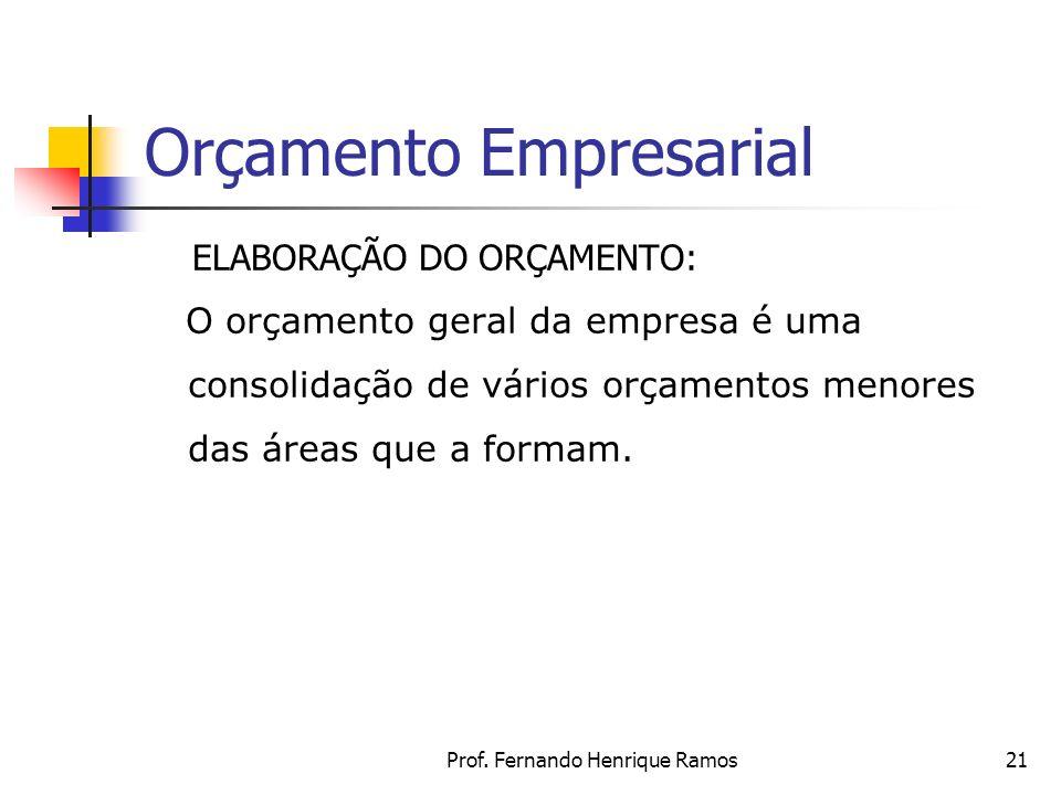 Prof. Fernando Henrique Ramos21 Orçamento Empresarial ELABORAÇÃO DO ORÇAMENTO: O orçamento geral da empresa é uma consolidação de vários orçamentos me