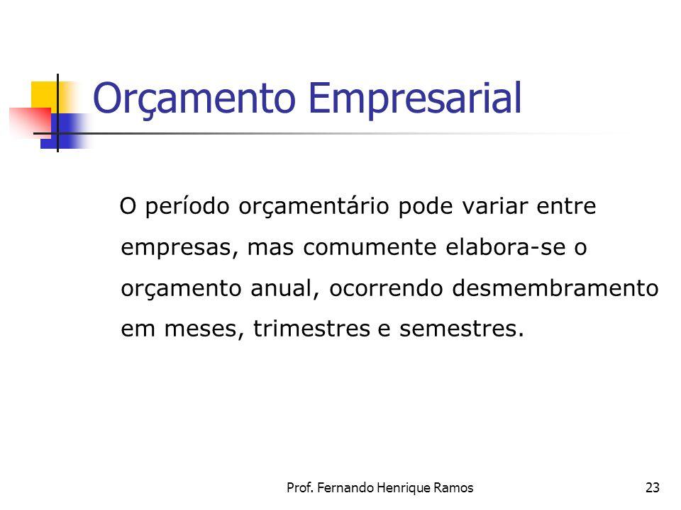 Prof. Fernando Henrique Ramos23 Orçamento Empresarial O período orçamentário pode variar entre empresas, mas comumente elabora-se o orçamento anual, o
