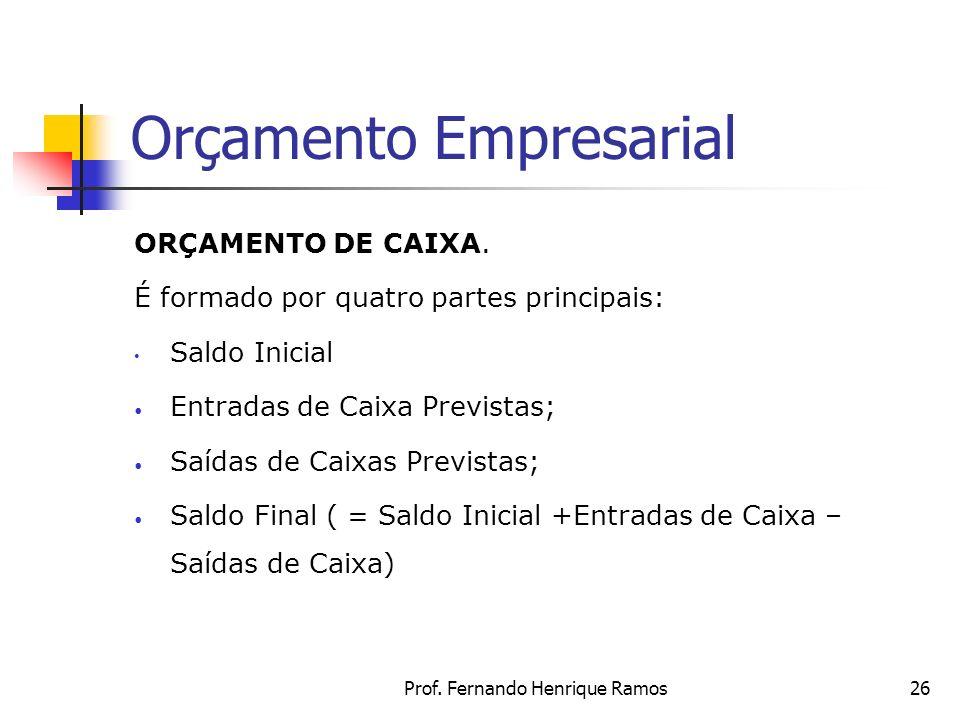 Prof. Fernando Henrique Ramos26 Orçamento Empresarial ORÇAMENTO DE CAIXA. É formado por quatro partes principais: Saldo Inicial Entradas de Caixa Prev
