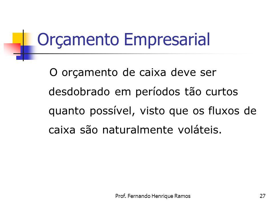 Prof. Fernando Henrique Ramos27 Orçamento Empresarial O orçamento de caixa deve ser desdobrado em períodos tão curtos quanto possível, visto que os fl