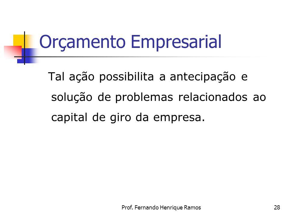 Prof. Fernando Henrique Ramos28 Orçamento Empresarial Tal ação possibilita a antecipação e solução de problemas relacionados ao capital de giro da emp
