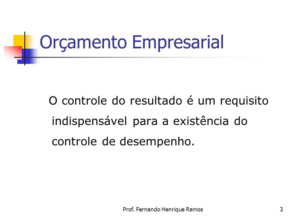 Prof. Fernando Henrique Ramos3 Orçamento Empresarial O controle do resultado é um requisito indispensável para a existência do controle de desempenho.