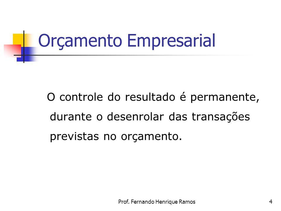 Prof. Fernando Henrique Ramos4 Orçamento Empresarial O controle do resultado é permanente, durante o desenrolar das transações previstas no orçamento.