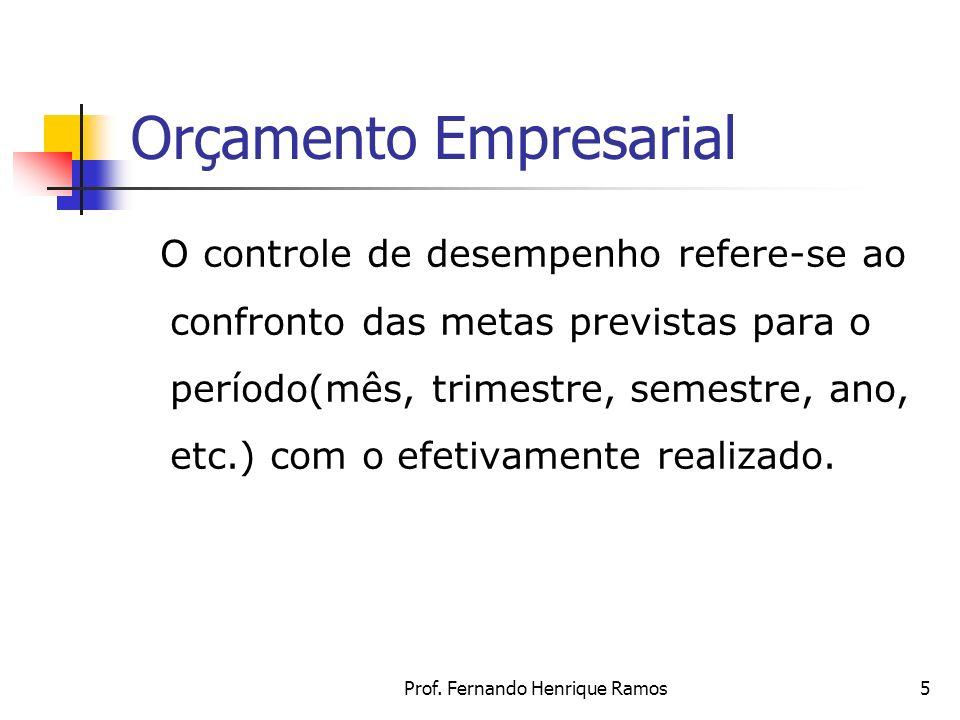Prof. Fernando Henrique Ramos5 Orçamento Empresarial O controle de desempenho refere-se ao confronto das metas previstas para o período(mês, trimestre